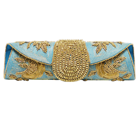"""-,TURQUOISE & GOLD CLUTCH WITH OPTIONAL CHAIN STRAP. 11"""" LONG, 3"""" TALL"""
