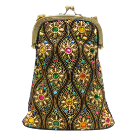"-,MULTICOLORED BEADED BAG WITH CHAIN STRAP. 8"" X 6"""