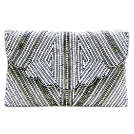 "-,SILVER & WHITE BEADS & CRYSTALS CLUTCH WITH OPTIONAL CHAIN STRAP. 10.5"" LONG, 6"" TALL"