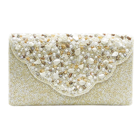 """-,IVORY BEADS & STONES CLUTCH WITH OPTIONAL STRAP. 10"""" LONG, 6"""" TALL"""