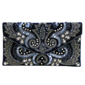 "-,BLUE BEADS & SEQUINS CLUTCH WITH OPTIONAL CHAIN STRAP. 10.5"" LONG, 6"" TALL"