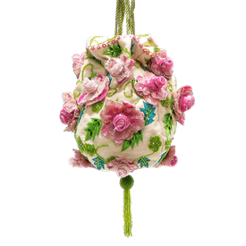 """-,PINK ROSES BEADED, SEQUINED & EMBROIDERED BAG WITH GREEN ROPE STRAP. 8"""""""