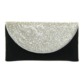 "-,CLEAR CRYSTAL & BLACK GLASS BEADS CLUTCH WITH CRYSTAL STRAP. 9.5"" LONG, 5"" TALL."
