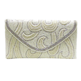 "-,IVORY BEADS & CLEAR CRYSTAL CLUTCH WITH CHAIN STRAP. 9.5"" LONG, 5"" TALL."