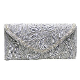 "-,SILVER FAUX PEARL BEADS & CLEAR CRYSTAL EVENING CLUTCH WITH CHAIN STRAP. 10"" WIDE, 5"" TALL"
