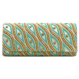 "-,TURQUOISE, IVORY & GOLD BEADED CLUTCH PURSE WITH CHAIN STRAP. 10.5"" LONG, 4.5"" TALL"