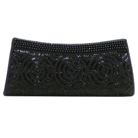 "-,BLACK BEADED CLUTCH EVENING BAG WITH CHAIN STRAP. 11"" LONG, 5"" TALL"