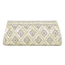 "-,IVORY BEADS, SEQUINS & CLEAR CRYSTAL EVENING CLUTCH WITH CRYSTAL STRAP. 10"" LONG, 5"" TALL"