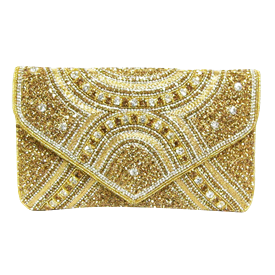 "-,GOLD & CLEAR CRYSTAL CLUTCH WITH GOLD CRYSTAL SHOULDER STRAP. 9.5"" LONG, 6"" TALL"