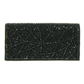 "-,BLACK CRYSTALS & BEADS EVENING BAG WITH CRYSTAL SHOULDER STRAP. 8.5"" LONG, 4.5"" TALL"