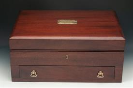 """REED & BARTON SILVER CHEST 21"""" LONG X 14.5"""" WIDE BY 9.75"""" TALL SOLID MAHOGANY HAS A TRIPLE ROW FOR KNIVES - COMPLETELY REFURBISHED LIKE NEW"""