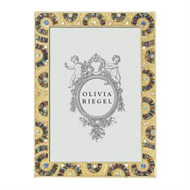 "-,5X7"" CHRISTOPHER FRAME IN GOLD FINISH SET WITH MULTICOLORED GLASS BEADS & EUROPEAN CRYSTALS."