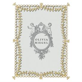 "-,5X7"" GOLD KENSINGTON FRAME WITH EUROPEAN CRYSTALS & PEARLS"