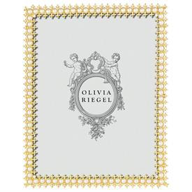 "_,$8X10"" GOLD CRYSTAL & PEARL FRAME. DELICATE GOLD DETAILS HAND-SET WITH EUROPEAN CRYSTALS & FAUX PEARLS OVER PEWTER. MSRP $160.00"