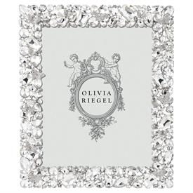 """-,8X10"""" ROXY FRAME. SILVER FINISHED CAST PEWTER HAND SET WITH CRYSTALS."""