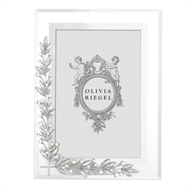 """-,4X6"""" LAUREL FRAME. BEVELED GLASS WITH SILVER FINISHED CAST PEWTER HAND SET WITH CRYSTALS."""