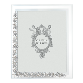 "-,8x10"" LAUREL FRAME. BEVELED GLASS WITH SILVER FINISHED CAST PEWTER HAND SET WITH CRYSTALS."