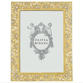 "-,5X7"" GOLD WINDSOR FRAME. GOLD FINISHED PEWTER HAND SET WITH CRYSTALS. MOIRE SILK BACK."