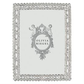 "_,5X7"" CAMERON FRAME IN SILVER. SILVER FINISHED CAST PEWTER HAND-SET WITH CLEAR EUROPEAN CRYSTALS & MARQUISE CUT GLASS GEMS. MSRP $110.00"