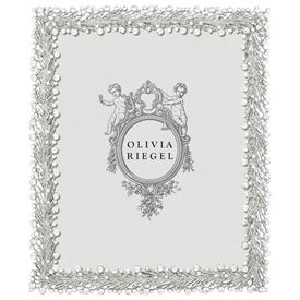 """-,8x10"""" TWINKLES FRAME. SILVER FINISHED CAST PEWTER HAND SET WITH CRYSTALS & FAUX SEED PEARLS. MOIRE SILK BACK."""