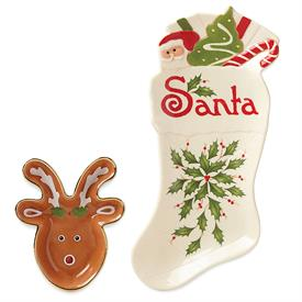 "_'HOSTING THE HOLIDAYS' COOKIES FOR SANTA (& REINDEER) 2 PIECE SET. 10"" PLATE WITH BOWL FOR REINDEER FOOD. MSRP $50.00"