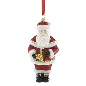 "-2018 SANTA WITH BELL BLOWN GLASS ORNAMENT. 5.5"" TALL"