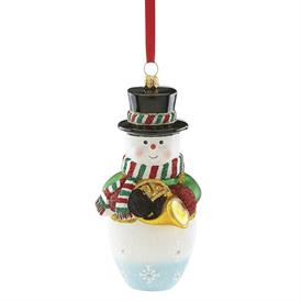 "-2018 SNOWMAN WITH FRENCH HORN BLOWN GLASS ORNAMENT. 5.5"" TALL"