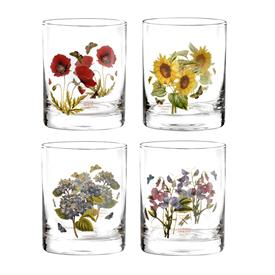 -ASSORTED SET OF 4 DOUBLE OLD FASHIONED GLASSES