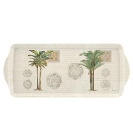 "-:VINTAGE PALM STUDY SANDWICH TRAY. MELAMINE. 15.1"" LONG"