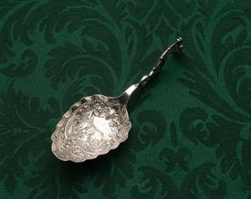 "CURVED HANDLED SPOON WITH COW AND BULLHEAD .75 TROY OUNCES 4.6"" LONG EUROPEAN SILVER UNMARKED"