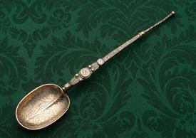 ",VIKING NORDIC THEMED STERLING SILVER SPOON 10"" LONG MADE IN LONDON 1903 BY CORNELIUS DESORMEAUX SAUNDERS & JAMES FRANCIS HOLLINGS 3.30 OZ"