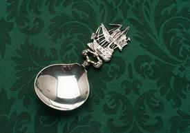 ",OLD SAILING SHIP BON BON OR TEA CADDY SPOON EUROPEAN SILVER PROBABLY MADE IN HOLLAND 1.60 TROY OUNCES 5"" LONG"