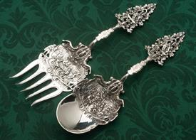 ",ORNATE SALAD SERVING SET 9.3"" LONG EUROPEAN SILVER MARKED ""STERLING"" 7.60 TROY OUNCES"