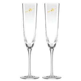 -TOASTING FLUTE PAIR. 7 OZ. CAPACITY. BREAK RESISTANT GLASS. BREAKAGE REPLACEMENT AVAILABLE.