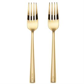 """_'I DO, ME TOO' 2-PIECE FORK SET. 7"""" LONG. GOLD PLATED STAINLESS STEEL. HAND WASH. BREAKAGE REPLACEMENT AVAILABLE."""