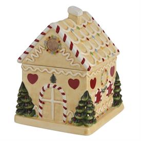 "-7"" GINGERBREAD HOUSE CANDY JAR. MSRP $80.00"