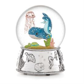 -WHALE WATER GLOBE. PLAYS 'ROW YOUR BOAT'. SILVER PLATE.