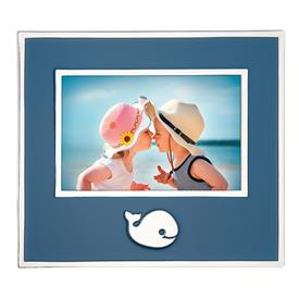 """-4X6"""" NAVY WHALE FRAME. SILVER PLATE"""