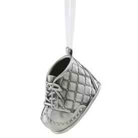 "-BABYS 1ST - BABY BOY SHOE ORNAMENT. BRUSHED SILVER PLATE. 2.75"". MSRP $50"