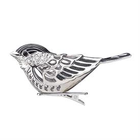"_CHICKADEE BIRD CLIP ORNAMENT. FINE SILVE RPLATE W/ ENAMEL. MADE IN THE USA. 2"" MSRP $50"