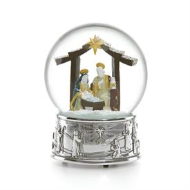 "-SNOW GLOBE NATIVITY - PLAYS O' LITTLE TOWN OF BETHLEHEM. 6.5"" TALL"
