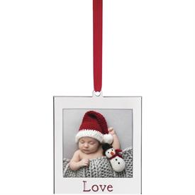 "-'LOVE' SILVER PLATED CHARM FRAME ORNAMENT. 2.78"" TALL. MSRP $16.00"