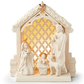 "-ILLUMINTATIONS NATIVITY LIT SCENE. 9"" TALL. BATTERIES INCLUDED. MSRP $140.00"