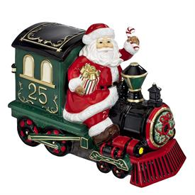 _SANTA ON TRAIN COOKIE JAR. HOLIDAY HEIRLOOMS COLLECTION.