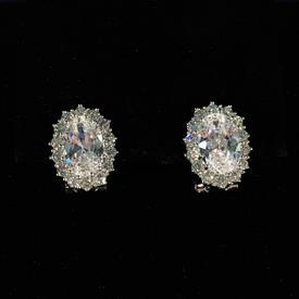 "-,OVAL CLEAR CZ LEVER BACK EARRINGS. 1.7"" LONG, .55"" WIDE"
