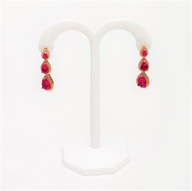 """-,GARNET RED & CLEAR CZ FLOWER POST EARRINGS. .5"""" WIDE"""