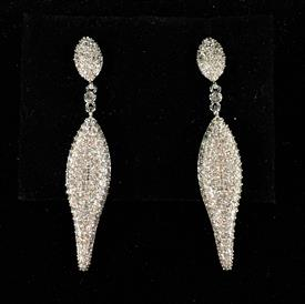 "-,CLEAR CZ PAVE DANGLE POST BACK EARRINGS. 2"" LONG"