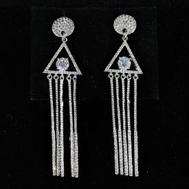 "-,CLEAR CZ GEOMETRIC SHAPES POST BACK DANGLE EARRINGS. 2.65"" LONG"