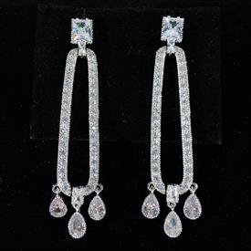 "-,CLEAR CZ OBLONG DANGLE EARRINGS. 2.4"" LONG"