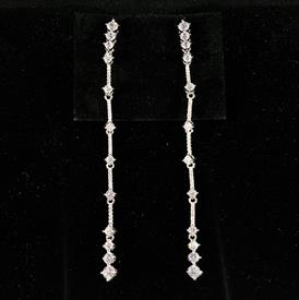 "-,CLEAR CZ EXTRA LONG DANGLE POST BACK EARRINGS. 3.55"" LONG"